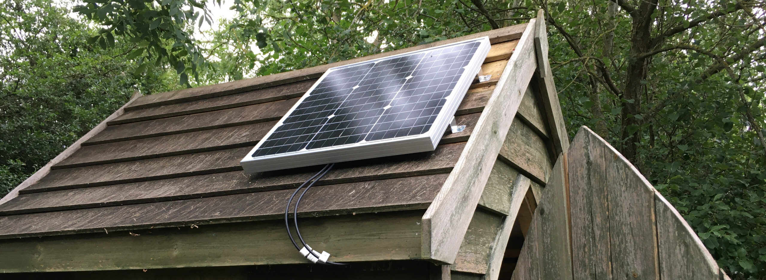 50 watt solar panel on shed roof
