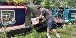 Collecting compost toilet contents from a narrowboat